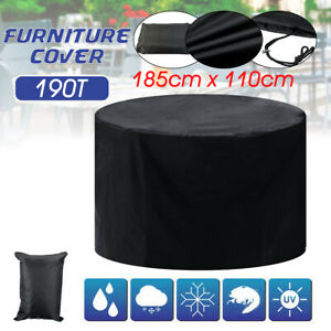 190T Round Garden Furniture Cover Waterproof Outdoor Table Chair Sofa