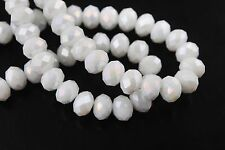 100pcs Loose Opaque White AB Glass Crystal Faceted 4mm Spacer Beads DIY Findings