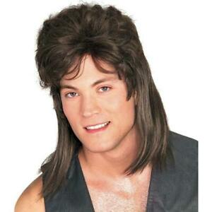 Mens Adult Deluxe 70s 80s Brown MULLET Costume Wig