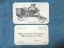 Antique Polygon Concrete Mixer Photo on Waterloo Cement Machinery Co. Iowa Card