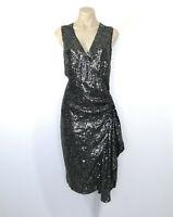 THURLEY Size 10 Sequins Wrap Dress V-Neck Drape Side Evening Event Silk Lining