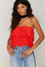 Nasty gal Women's Private Practice Strapless Top Size M Red  NGR