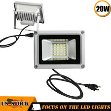 2 x 20W LED Flood Light Garden Path Outdoor Wash Lamp w/ US Plug 110V Cool White