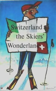Original vintage poster SWITZERLAND SKIERS WONDERLAND 1943
