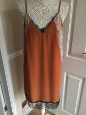 River Island Rust Lace Chiffon Mini Dress Size 12 BNWT