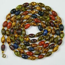 """Vintage Jewellery Scottish Agate Glass Oval Bead Necklace Flapper 1920s 49"""" Long"""