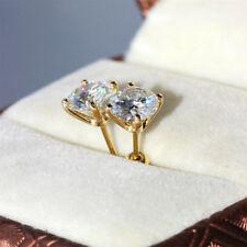 Stylistic Design VVS1/D 2.00 ct Diamond Earrings Fine 14 Kt. Gold Round Cut Stud