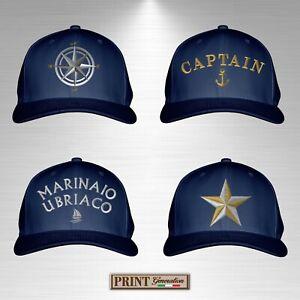 Cappello blue navy ricamato oro nautico barca capitano marinaio mare atlantis