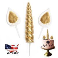 Gold Unicorn Cake Decoration Topper Includes Unicorn Horn, Ears and Eyelashes