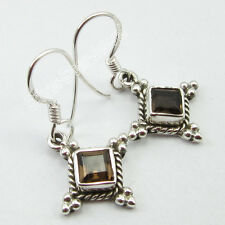 Unusual Global Girls' Earrings 3.1 Cm 925 Sterling Silver Low Price Smoky Quartz