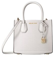 Michael Kors Mercer Optic White Perforated Leather Medium Messenger Bag