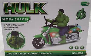 Hulk Electric Rotating Music Light Kids Toys Xmas Gift Motorbike Bump & Go Kart