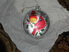 NEW Cardinal Glass Domed Round Christmas Ornament Bird Ornament 4in
