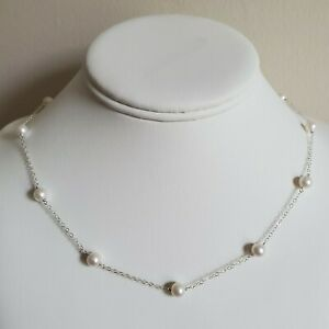 White 6 mm Freshwater Pearl Sterling Silver Tin Cup Necklace Station Necklace