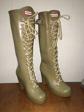 "Hunter Lapins Lace Boot  4"" Heel Platform Rubber Rain Boots US9 UK7 Latte"
