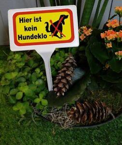 HIER IST KEIN HUNDEKLO gut zu lesen 12 x 7cm Warnschild Gartenschild weiß 11404