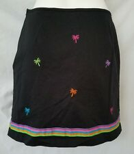 BAMBOO TRADERS Women's Skirt SIZE 10 Black with Embroidered Palm Trees