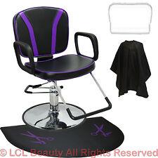 Purple Hydraulic Reclining Barber Chair Round Mat Beauty Salon Beauty Equipment