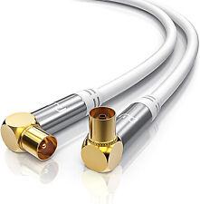 Câble antenne tv 1m à 10m câble coaxial tv coudé mâle femelle plaqué or PREMIUM