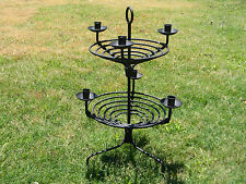 Pottery Barn Candle Holder Wrought Iron Rustic Wire Taper Centerpiece Holds 6