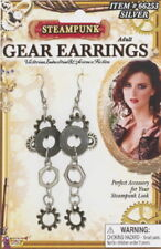 SteamPunk Cosplay Victorian Style Silver Toned Gear Earrings, NEW UNWORN SEALED