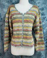 Peruvian Connection Womens M Blue Pink Pima Handknit Vintage Chunky Boxy Sweater