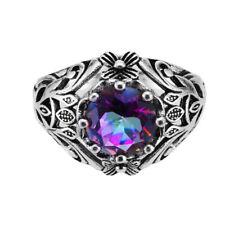 Fashion Black Gold Filled Rainbow Topaz Gem Flower Ring Women Wedding Sz 5-12