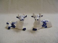 DECORATIVE COLLECTIBLE BLUE AND WHITE COW SALT AND PEPPER SHAKERS