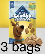"""3 Blue Buffalo Treats """"Scooby Snacks"""" Dog Biscuits; Bacon, Egg, & Cheese 8 Oz"""