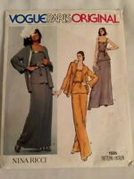 Nina Ricci Paris Original jacket, Pants, Skirt VOGUE Pattern 1535 UNCUT Size 14
