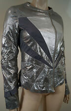 MIH JEANS COLLECTION Silver Metallic Panelled 100% Leather Biker Jacket Sz:M