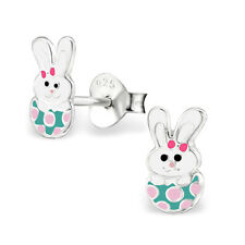 925 Sterling Silver kids girls women Rabbit Stud Earrings Jewelry w epoxy