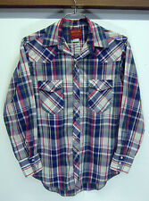 vtg Rustler Western Shirt paselt plaid pearl snap yoke thin sz M 15-32/33
