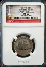 2016-P 25C Harpers Ferry NP - NGC MS67 - America the Beautiful Quarter - ER