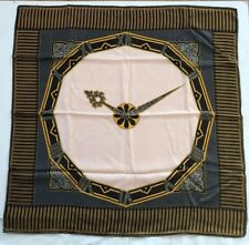 VINTAGE MUST DE CARTIER SILK SCARF-JEWELED CLOCK DESIGN MADE IN ITALY-NEW IN BOX