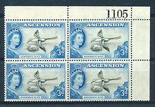 ASCENSION 1956 DEFINITIVES SG62 3d BLOCK OF 4 WITH SHEET NUMBER MNH