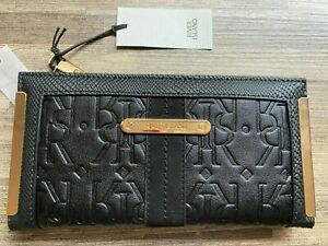 River Island black RI embossed fold out purse PURSE new with tags