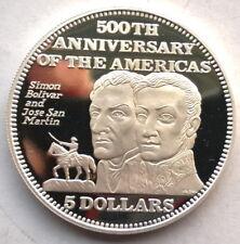Bahamas 1992 Bolivar Jose San Martin 5 Dollars Silver Coin,Proof