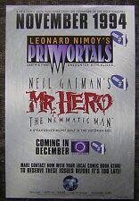 "1994 Leonard Nimoy's Primortals & Neil Gaiman's Mr. Hero 6x9"" Advertising Card"