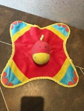 KEEL TOYS DINKY DINO RED YELLOW BLUE RATTLE HEAD SOFT COMFORTER BLANKET HUG TOY