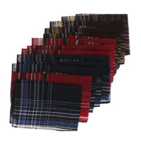 12x Men Cotton Pocket Square Plaid Pattern Hanky Wedding Party Handkerchiefs