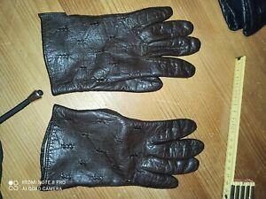 Lederhandschuhe  m Damen unisex braun echtleder Leder Handschuhe neuwertig