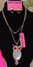 2 PC BETSEY JOHNSON PRETTY CRYSTAL OPALINE OWL WITH MATCHING EARRINGS