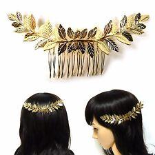 Big Gold Metal Laurel Leaf Hair Comb Clip Pin Bridal Wedding Party Prom Fashion