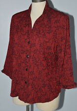 dressbarn Women's Blouse 3/4 Sleeves Buttons Up Brocade Leaves Design Sz L Red