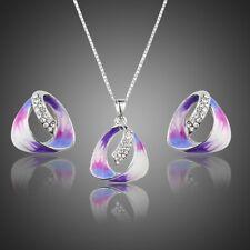 Purple Enamel Clear White Austria Crystal Necklace Stud Earrings Jewellery Set