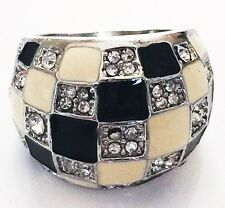 USA RING Rhinestone Crystal Fashion Gemstone Silver SIZE-7 WHITE BLACK C3