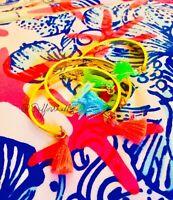 🏝🐬 Lilly Pulitzer 3 Bracelets Trio Summer Tassels Cuffs Engraved 🏝🐳