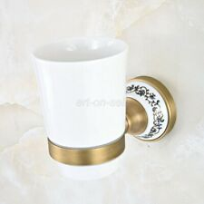 Antique Brass Bathroom Wall Mount Toothbrush Holder w/ Single Ceramic Cup aba811