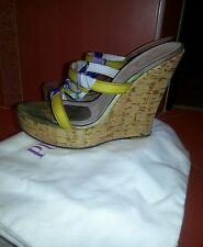 Emilio Pucci Yellow Bluestrap platform wedge satin leather sandals shoes sz 7 37